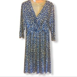 Christopher & Banks blue cheetah dress size M